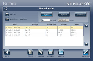 Atomlab 960 Thyroid Uptake System Screens